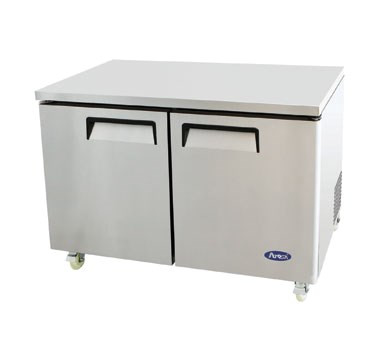 Undercounter Reach-In Freezer, two-section, self-contained refrigeration, 12.0 cu. ft. capacity, -8° to -0°F temperature range, (2) locking hinged self-closing doors, (2) adjustable shelves, ventilated refrigeration, automatic evaporation, electric defrost, stainless steel interior & exterior, galvanized steel back, casters, rear mounted refrigeration, 600 watts, 115v/60/1-ph, 7.2 amps, 1/2 HP, cETLus, ETL, CE