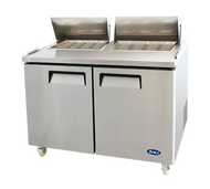 Mega Top Sandwich/Salad Reach-In Refrigerator, two-section, self-contained refrigeration, 18.6 cu. ft. capacity, includes (24) 1/6 stainless steel pans, 33° to 45°F temperature range, (2) locking hinged self-closing doors, (2) adjustable shelves, poly cutting board, ventilated refrigeration, automatic lighting & evaporation, air defrost, stainless steel interior & exterior, galvanized steel back, casters, front breathing side mounted refrigeration, 560 watts, 115v/60/1-ph, 6.5 amps, 1/2 HP, cETLus, ETL, CE
