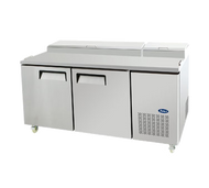 "Atosa Refrigerated Pizza Prep Table, two-section, 67.1""W x 33.07""D x 44.03""H, side-mounted self-contained refrigeration, 20.0 cu. ft., (2) locking hinged solid door, digital temperature control, 33° to 38°F temperature range, automatic evaporation, air defrost, includes, (4) shelves, (9) 1/3 stainless steel pans, stainless steel interior & exterior, galvanized steel back, 5"" casters, R-134a refrigerant, 1/3 HP, 115v/60/1-ph, 7.5 amps, cETLus, ETL-Sanitation"