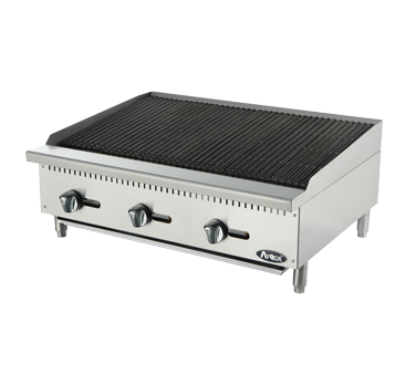 "Heavy Duty Radiant Charbroiler, Natural gas, countertop, 36"", (3) stainless steel burners, standby pilots, stainless steel radiant plates, cast iron grill, independent manual controls, adjustable multi-level top grates, stainless steel structure, adjustable stainless steel legs, 105,000 BTU, cETLus, ETL"