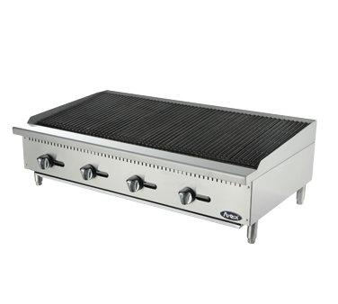 """Heavy Duty Char Rock Charbroiler, gas, countertop, 48"""", (4) stainless steel burners, standby pilots, stainless steel radiant plates, cast iron grill, independent manual controls, adjustable multi-level top grates, stainless steel structure, adjustable stainless steel legs, 140,000 BTU, cETLus, ETL"""