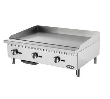 """Heavy Duty Griddle, gas, countertop, 36"""", (3) stainless steel burners, standby pilots, independent manual controls, stainless steel structure, adjustable stainless steel legs, 90,000 BTU, cETLus, ETL"""
