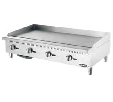 """Heavy Duty Griddle, gas, countertop, 48"""", (4) stainless steel burners, standby pilots, independent manual controls, stainless steel structure, adjustable stainless steel legs, 120,000 BTU, cETLus, ETL"""
