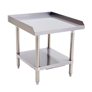 "Equipment Stand, 24"" x 28"", stainless steel top & adjustable undershelf, hemmed edge around the sides and back, bullet feet, ships unassembled"