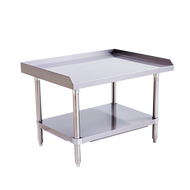 "Equipment Stand, 36"" x 28"", stainless steel top & adjustable undershelf, hemmed edge around the sides and back, bullet feet, ships unassembled"