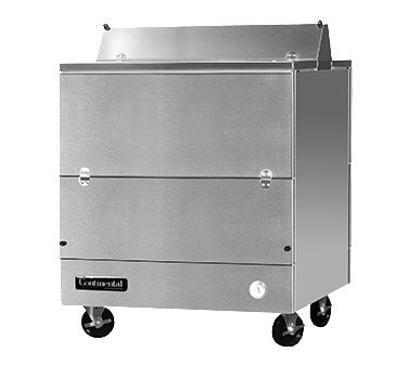 "Designer Line Milk Cooler, 34"" long, dual access, forced air cooling, (8) 13"" x 13"" x 11"" or (4) 19"" x 13"" x 11"" crate cap., stainless steel interior & exterior, (4) locking swivel casters, 1/4 hp"