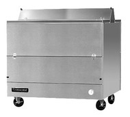 "Designer Line Milk Cooler, 49"" long, dual access, forced air cooling, (12) 13"" x 13"" x 11"" or (8) 19"" x 13"" x 11"" crate cap., stainless steel interior & exterior, (4) locking swivel casters, 1/3 hp"