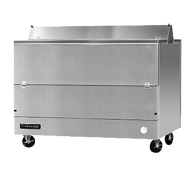 """Milk Cooler, 58"""" long, dual access, forced air cooling, (16) 13"""" x 13"""" x 11"""" or (10) 19"""" x 13"""" x 11"""" crate capacity, door cylinder security locks, electronic control with digital display, hi-low alarm, hi/low temperature alarm, stainless steel interior & exterior, floor drain, (4) 5"""" swivel casters with front locking brakes, 1/3 HP, cETLus, NSF, Made in USA"""
