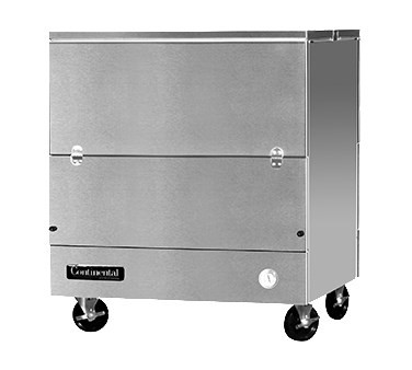 """Designer Line Milk Cooler, 34"""" long, dual access, cold wall cooling, (8) 13"""" x 13"""" x 11"""" or (4) 19"""" x 13"""" x 11"""" crate cap., stainless steel interior & exterior, (4) locking swivel casters, 1/4 hp"""