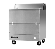 "Designer Line Milk Cooler, 34"" long, single access, forced air cooling, (8) 13"" x 13"" x 11"" or (4) 19"" x 13"" x 11"" crate cap., stainless steel interior & exterior, (4) locking swivel casters, 1/4 hp"