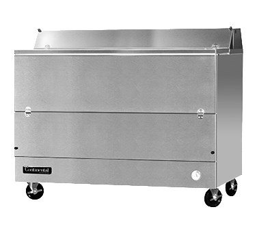 """Designer Line Milk Cooler, 58"""" long, single access, forced air cooling, (16) 13"""" x 13"""" x 11"""" or (10) 19"""" x 13"""" x 11"""" crate cap., stainless steel interior & exterior, (4) locking swivel casters, 1/3 hp"""