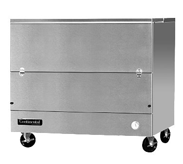 "Designer Line Milk Cooler, 49"" long, single access, cold wall cooling, (12) 13"" x 13"" x 11"" or (8) 19"" x 13"" x 11"" crate cap., stainless steel interior & exterior, (4) locking swivel casters, 1/3 hp"