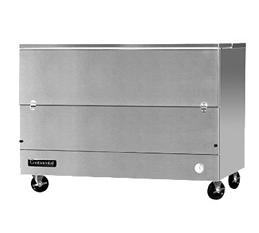 "Designer Line Milk Cooler, 58"" long, single access, cold wall cooling, (16) 13"" x 13"" x 11"" or (10) 19"" x 13"" x 11"" crate cap., stainless steel interior & exterior, (4) locking swivel casters, 1/3 hp"