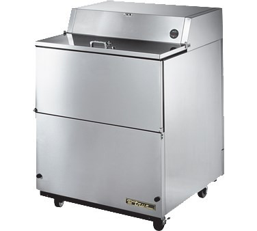 """Mobile Milk Cooler, FORCED-AIR, (12) crates, stainless steel drop front/hold-open flip-up lids, lock, 33-38°F, stainless exterior, stainless steel interior & floor, (3) heavy duty floor racks, digital thermometer, 4"""" castors, R290 Hydrocarbon refrigerant, 1/5 HP, 115v/60/1, 2.7 amps, 9' cord, NEMA 5-15P, cULus, UL EPH Classified, MADE IN USA (TMC-34-S-SS PICTURED)"""