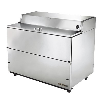 "Mobile Milk Cooler, FORCED-AIR, (16) crates, stainless steel drop front/hold-open flip-up lids, lock, 33-38°F, stainless exterior, stainless steel interior & floor, (3) heavy duty floor racks, digital therm., 4"" castors, 1/3 HP, 115v/60/1, 6.8 amps, 9' cord, NEMA 5-15P, cULus, UL EPH Classified, CE, MADE IN USA"