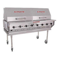 """Magicater AGA Approved Transportable Gas Grill, liquid propane, 60"""", (8) burners, stainless steel radiants, (2) nickel-chrome plated top grates, 8"""" work deck, spark ignitor, individual control valves, (2) 30"""" roll-top hoods, (2) 40 pound tank in removable tank cart, pressure regulator, stainless steel construction, stainless steel legs with 6""""casters (2 with locks), 160,000 BTU, CSA Flame, CSA Star, NSF"""