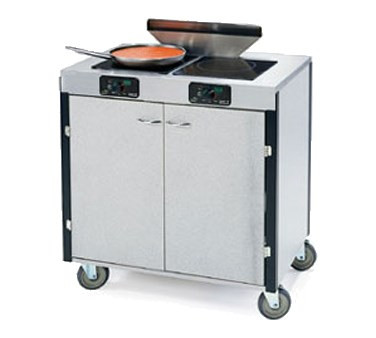 """MODEL 2075 Creation Express™ Station Mobile Cooking Cart, 34"""" x 22"""" x 40-1/2""""H, temperature range 90° - 440°F, LED control panel, (2) induction heat stove, (1) down draft filtration system, stainless steel top, stainless steel interior with laminated exterior, with doors, 5"""" swivel No-Mark® polyurethane casters (2) with brakes, ETL"""