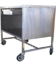 "Sample Demo Table, mobile, 36""W x 24""D x 37""H, enclosed base, all-welded 18-gauge stainless steel construction, marine edge on (3) sides of tabletop, slide-out drawer, 19-3/8"" storage area clearance, (2) swivel & (2) swivel/brake 5"" plate casters with polyurethane tread, NSF"