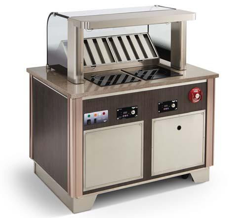 "Signature Server® Custom Downdraft Vent System: Includes Base & 18"" tall Tempered Curved Breathguard with Integrated ANSUL R-102 Fire Suppression System, Downdraft Recirculating Vent with (2) Grease & (2) Carbon/Particulate Filters. Includes qty. 1 - 59501 Mirage Drop-In Range & Rectangle Countertop Cutting Board (in non-induction location left or right location). Includes stainless kickplates (front, left & right sides), 5"" casters with adjustable legs). UL certified to UL710B, UL197, UL-Sanitation. NSF certified to NSF4. Meets the requirements of EPA Method 202 from Section 59 of UL710B & NFPA96. Emissions < 5.00 mg/m3 using 30% fat ground beef. Made-to-Order in the USA. . **CUSTOM PRODUCT CANNOT BE CANCELED OR RETURNED**"