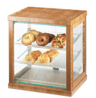 "Frame Display Case, 21""W x 16-1/4""D x 22-1/2""H, with (3) 13"" x 18"" clear trays, attendant serve, acrylic, bamboo, BPA Free"