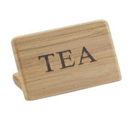 "Beverage Sign, 3""W x 2""H,""TEA"", bamboo finish, BPA Free"