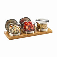 "Mixology Condiment Display, 16""W x 6""D x 4""H, (3) 16 oz. round glass jars with silicone lined stainless steel solid lids, rectangular bamboo base, and cooling pucks"