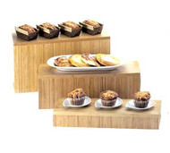 "Display Riser/Change Up Deep Tray, 20""W x 7""D x 3""H, rectangle, bamboo"