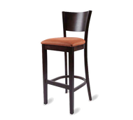 Bar Stool, armless, solid wood back, upholstered seat, European beech wood frame, footrest, COM/grade 6 uph.