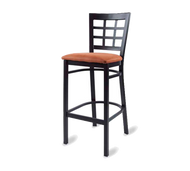 Bar Stool, armless, window back, upholstered seat, welded metal frame, footrest, black powder coat finish, COM/grade 6 uph.