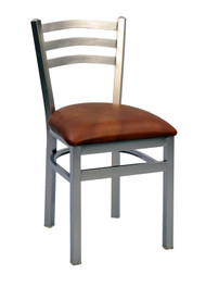 Steel Works Side Chair, arch ladder back, upholstered seat, steel frame, footrest, made in the USA, COM/grade 6 uph.