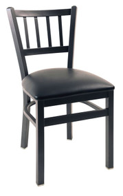 Steel Works Side Chair, jailhouse back, upholstered seat, steel frame, footrest, made in the USA, COM/grade 6 uph.