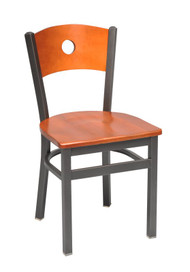 PICTURED: Steel Works Side Chair, 1-hole wood back, upholstered seat, steel frame, made in the USA, COM/grade 6 uph. PICTURED WITH OPTIONAL WOODEN SEAT