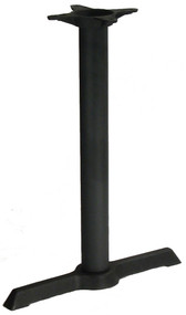 "Table Base, indoor, 5"" x 22"" single leg base, 3"" dia. column, dining height, cast iron, black powder coat finish"