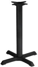 "Table Base, indoor, 22"" x 22"" base spread, 3"" dia. column, dining height, cast iron, black powder coat finish"
