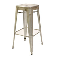 Marseille Industrial Bar Stool, backless, steel seat, steel frame, footrest, galvanized  finish pictured