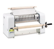 "Vertical Dough Sheeter, bench model, 0"" to .71"" adjustable hard chrome polished cylinders, 18-1/2"" wide belt drive, 20"" max dough width, heavy duty hard wood rolling pins, cord and plug, 1/2 hp, 115v/60/1-ph, 7.4 Amps., ETL"