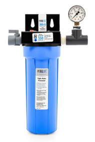 "300-G Series Water Filter System, 10,000 gallons (37,854 liters) capacity, KDF® triple water processing, removes or reduces limescale/chlorine/lead/algae & slime/bad taste & odor/bacteria, 100° F max temperature, includes: model 52645 cartridge, bracket, o-ring, pressure gauge & shut off valve, 20-100 PSI, 2.5 GPM, 1/2"" female NPT (for small ice machines, small steamers, small beverage equipment), NSF"