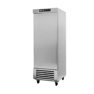 """Refrigerator, reach-in, one-section, 23 cu. ft., (1) solid door, digital controller, (3) adjustable epoxy coated shelves, incandescent interior lighting, CFC polyurethane insulation, temperature from 33° to 38°, environmentally friendly R134A refrigerant, bottom mounted compressor, self closing doors with 90° stay, magnetic door gasket, stainless steel floor, interior and exterior, galvanized back panel, 4"""" swivel casters (2 with brakes), 1/4 HP, cETLus, ETL-Sanitation, Made in North America"""