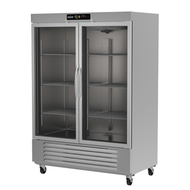 "Refrigerator, reach-in, two-section, 49 cu. ft., (2) glass doors, digital controller, (6) adjustable epoxy coated shelves, incandescent interior lighting, CFC polyurethane insulation, temperature from 33° to 38°, environmentally friendly R134A refrigerant, bottom mounted compressor, self closing doors with 90° stay, magnetic door gasket, stainless steel floor, interior and exterior, galvanized back panel, 4"" swivel casters (2 with brakes), 1/3 HP, cETLus, ETL-Sanitation, Made in North America"