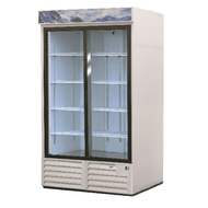 Refrigerator Merchandiser, two-section, 47 cu. ft., (2) sliding glass doors, analog controller, (8) adjustable epoxy coated shelves, LED interior lighting, illuminated sign panel, CFC polyurethane insulation, temperature from 33° to 38°, environmentally friendly R134A refrigerant, bottom mounted compressor, self closing doors with 90° stay, magnetic door gasket, stainless steel floor, white interior and exterior, 1/3 HP, cETLus, ETL-Sanitation, Made in North America