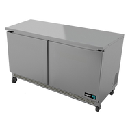"Undercounter Refrigerator, 48"" wide, two-section, 11.8 cu. ft., (2) solid doors, (4) adjustable epoxy coated shelves, CFC polyurethane insulation, temperature from 33° to 38°, environmentally friendly R134A refrigerant, front breathing, self-contained refrigeration, magnetic door gasket, stainless steel interior and exterior, galvanized back panel, 4"" swivel casters (2 with brakes), 1/4 HP, cETLus, ETL-Sanitation, Made in North America"
