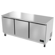 "Undercounter Refrigerator, 72"" wide, three-section, 18.2 cu. ft., (3) solid doors, (6) adjustable epoxy coated shelves, CFC polyurethane insulation, temperature from 33° to 38°, environmentally friendly R134A refrigerant, front breathing, self-contained refrigeration, magnetic door gasket, stainless steel interior and exterior, galvanized back panel, 4"" swivel casters (2 with brakes), 1/3 HP, cETLus, ETL-Sanitation, Made in North America"