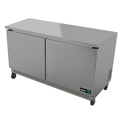 "Undercounter Freezer, 48"" wide, two-section, 11.8 cu. ft., (2) solid doors, (4) adjustable epoxy coated shelves, CFC polyurethane insulation, maintain temperature at -8°, environmentally friendly R134A refrigerant, front breathing, self-contained refrigeration, magnetic door gasket, stainless steel interior and exterior, galvanized back panel, 4"" swivel casters (2 with brakes), 3/4 HP, cETLus, ETL-Sanitation, Made in North America"