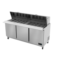 """Mega Top Sandwich/Salad Prep Table, 72"""" wide, (3) solid doors, (3) adjustable epoxy coated shelves, includes (30) standard full set of 1/6 size pans (4"""" deep), insulated lid, 10"""" removable/reversible white poly cutting board, CFC polyurethane insulation, temperature from 33° to 41°, environmentally friendly R134A refrigerant, front breathing, self-contained refrigeration, magnetic door gasket, stainless steel interior and exterior, galvanized back panel, 4"""" swivel casters (2 with brakes), 1/3 HP, cETLus, ETL-Sanitation, Made in North America"""
