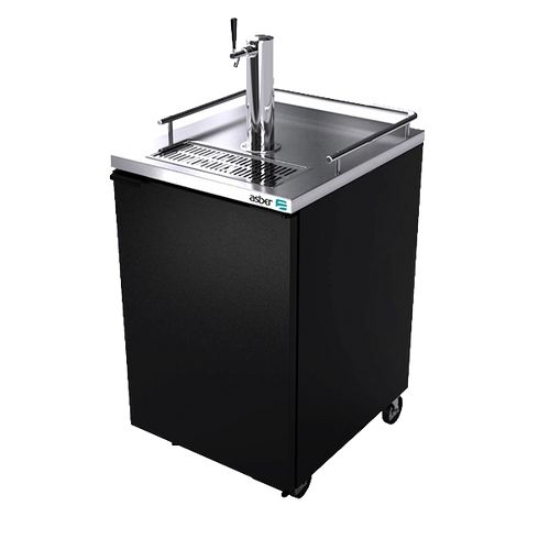 "Direct Draw Beer Cooler, 24-1/4"", two-section, (1) solid door, (1) stainless steel draft towers with single taps, (1) keg capacity, analog thermostat, fluorescent interior light, CFC polyurethane insulation, temperature from 33° to 38°, environmentally friendly R134A refrigerant, rear breathing/rear mount compressor, self-contained refrigeration, magnetic door gasket, stainless steel top, black vinyl exterior, galvanized interior with stainless steel floor, 5"" casters, 1/6 HP, cETLus, ETL-Sanitation, Made in North America"