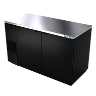 "Back Bar Cooler, 69-1/2"", two-section, (2) solid doors, (1,014) 12 oz can capacity, (4) adjustable coated wire shelves, analog thermostat, fluorescent interior light, CFC polyurethane insulation, temperature from 33° to 38°, environmentally friendly R134A refrigerant, front breathing/side mount compressor, self-contained refrigeration, magnetic door gasket, stainless steel top, black vinyl exterior, galvanized interior with stainless steel floor, 1/3 HP, cETLus, ETL-Sanitation, Made in North America"