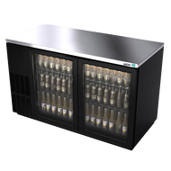 "Back Bar Cooler, 59-1/2"", two-section, (2) glass doors, (852) 12 oz can capacity, (4) adjustable coated wire shelves, analog thermostat, fluorescent interior light, CFC polyurethane insulation, temperature from 33° to 38°, environmentally friendly R134A refrigerant, front breathing/side mount compressor, self-contained refrigeration, magnetic door gasket, stainless steel top, black vinyl exterior, galvanized interior with stainless steel floor, 1/3 HP, cETLus, ETL-Sanitation, Made in North America"