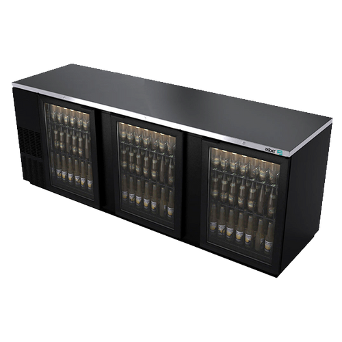 "Back Bar Cooler, 95-1/2"", three-section, (3) glass doors, (1,302) 12 oz can capacity, (6) adjustable coated wire shelves, analog thermostat, fluorescent interior light, CFC polyurethane insulation, temperature from 33° to 38°, environmentally friendly R134A refrigerant, front breathing/side mount compressor, self-contained refrigeration, magnetic door gasket, stainless steel top, black vinyl exterior, galvanized interior with stainless steel floor, 1/3 HP, cETLus, ETL-Sanitation, Made in North America"
