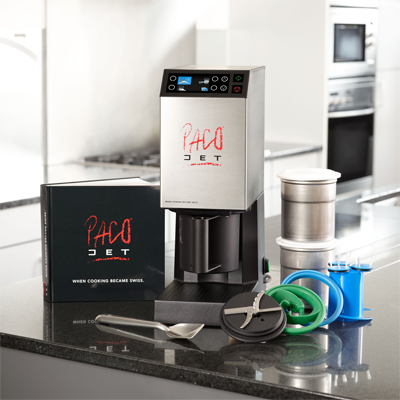 (16002) Pacojet 2 Food Processor System, micropurées food, touchpad/touchscreen controls, colour graphic display, on/off rocker switch, includes (1) Pacojet 2 machine, (1) Pacotizing blade, (1) spray guard, (2) 1 liter beakers with lids, (1) outer protective beaker, (1) chrome spatula, (1) use instruction book, (1) international recipe book, and (1) cleaning kit (with washing insert), stainless steel exterior, 6,000 RMP motor/2,000 RPM Pacotizing blade, cETLus