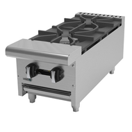 "Hot Plate, natural gas, countertop, 12""W x 32-1/4""D x 11-3/8""H, (2) 30,000 BTU burners, cast iron grates & burners, manual controls, full width removable drip tray, pressure regulator, stainless steel front, sides & landing ledge, adjustable feet, 60,000 BTU, cETLus, (ships with LP conversion kit) Made in North America"